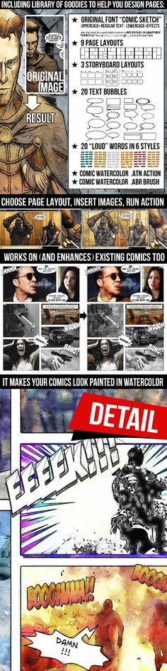 Comic Watercolor Action Kit: Photo Effects Photoshop created by Effects Photoshop, Cool Photoshop, Photoshop Photos, Photoshop Tutorial, Photoshop Actions, Watercolor Photoshop Action, Storyboard Template, Text Bubble, Photography Tools