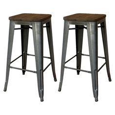 "Threshold™ Hampden Industrial 29"" Barstool with Wood Top (Set of 2) 