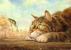 Illustration by Vladimir Rumyantsev. Image Chat, Photo D Art, Mundo Animal, Here Kitty Kitty, Wall Art Pictures, Cat Drawing, Cat Love, Crazy Cats, Cat Art