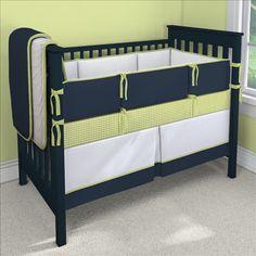 Navy and Lime 2 Custom 4-piece Crib Bedding Set | Navy and Lime 2 Nursery Idea | Carousel Designs 500x500 image