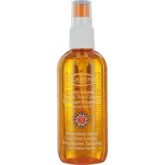 Clarins Sunscreen Spray Oil-Free Lotion Progressive Tanning for Outdoor Sports, 5.10 Ounce by Clarins. Save 5 Off!. $31.24. Heat-resisstant UVB-UVA filters. Non-oily, fluid lotion that's invisible on the skin. This light-weight, oil-free formula is ideal for men. Recommended for outdoor sports, this sunscreen ensures and even, long-lasting tan.