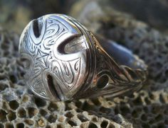 Cross Signet ring,Silver Mens Womens ring, medieval Knights  Sterling Silver ring,Crusader Jewelry ring,engraved Handmade unique ring