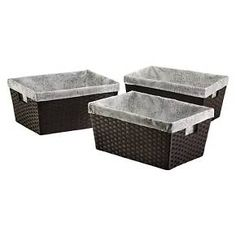 Large Lined Basket - Dark Brown Weave - Set of 3 - Threshold™ : Target
