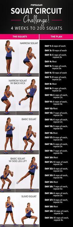 Take Our Squat Circuit Challenge! 30 Days to 200 Squats #totalbodytransformation