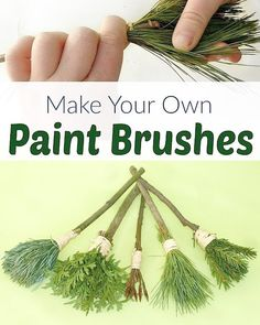 Make these easy nature paint brushes for your toddler to paint with. An amazing sensory activity for kids (And pine needles make fantastic brushes!) nature crafts DIY Nature Paint Brushes for Kids Nature Activities, Sensory Activities, Toddler Activities, Outdoor Preschool Activities, Forest School Activities, Preschool Camping Theme, Outdoor Activities For Preschoolers, Childcare Activities, Creative Activities For Kids