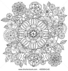 Contoured mandala shaped flowers and leaves for adult coloring book or art therapy style zen drawing. Hand-drawn, stylish doodle in tatto…
