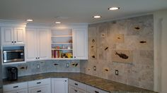 kitchen tiled with green river formation fish fossils