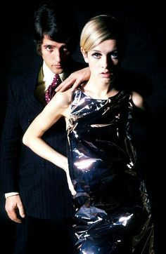 Twiggy photographed with her manager and boyfriend Justin de Villeneuve.