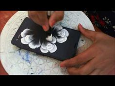 One Stroke Painting- 3d roses on phone cover - YouTube