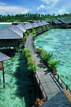 Sipadan Water Village Resort, Mabul Island, Borneo in Indonesia Places Around The World, Oh The Places You'll Go, Travel Around The World, Places To Travel, Places To Visit, Kuala Lumpur, Vacation Destinations, Dream Vacations, Vacation Spots