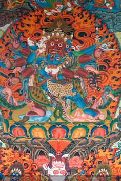 A wall painting at the Namdroling monastery at Bylakuppe near Coorg in Karnataka, India.