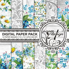 floral digital paper pack DIGITAL PAPER digital von Stilboxx