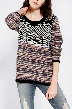 Ecote Mixed Jacquard Sweater - Urban Outfitters