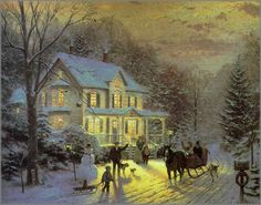 Thomas Kinkade was an American painter of popular realistic, bucolic, and idyllic subjects. He is notable for the mass marketing of his work as printed reproductions and other licensed products via The Thomas Kinkade Company. Christmas Scenes, Christmas Pictures, Christmas Art, Winter Christmas, Victorian Christmas, Christmas Morning, Beautiful Christmas, Thomas Kinkade Art, Thomas Kinkade Christmas