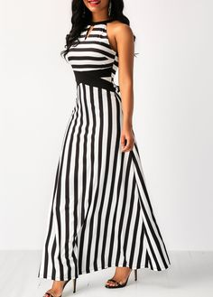 Striped Halter Sleeveless Black Maxi Dress | Rosewe.com - USD $31.103