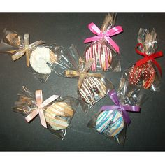 Chocolate fortune cookie with a unique custom message. Individually packaged in clear cello bag and tied with a matching bow, these cookies can be decorated to match your special theme or event. Great for weddings, corporate functions, party favors, tradeshows, and employee or customer appreciation gifts.