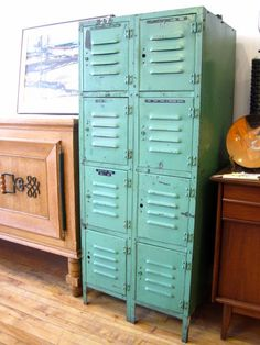 turquoise industrial vintage lockers Found at GUFF. Reminds me of something we brought home from the flea market. (Cool Crafts For Lockers) Vintage Industrial Furniture, Industrial House, Industrial Chic, Repurposed Furniture, Industrial Lighting, Pipe Furniture, Industrial Office, Industrial Interiors, Repurposed Lockers