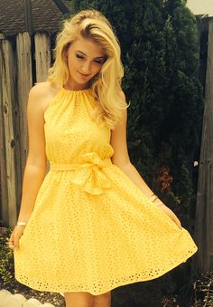 Gorgeous Yellow Summer Halter Dress plus tons of ideas for sewing with eyelet!