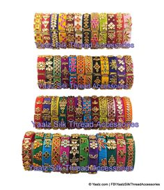 Yaalz Silk Thread Bracelet Bangles With Kundan Stones In Assorted Colors Silk Thread Bangles Design, Silk Thread Earrings, Thread Bracelets, Thread Jewellery, Silver Bangle Bracelets, Jewelry Art, Kundan Bangles, Silk Bangles, Bridal Bangles