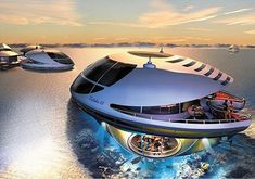 Trilobis 65 by Giancarlo Zema. Futuristic Floating Home With Underwater Observation Deck.