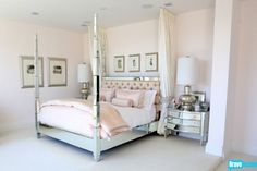Perfect bedroom; although I wouldn't subject Aaron to pink sheets. Whites and pale blues are fine.