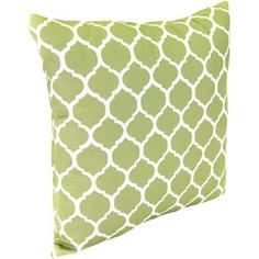 "Jordan Manufacturing Reversible Floral/Stripe 16"" Square Toss Pillow, Courtyard Trellis/Dominica Texture Pistachio"