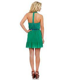 Jodi Kristopher Solid Halter Neckline T-Back Dress