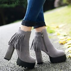 >> Click to Buy << botas mujer 2017 autumn/winter fashion tassel Ankle Martin boots female pumps 12cm thick high heel scrub zipper round toe shoes #Affiliate