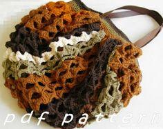 Striped crochet hobo market bag PDF pattern