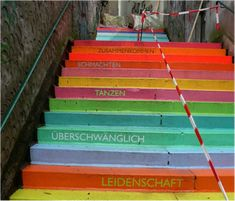 Painted concrete stairs in an outdoor space. Something to think about for my very ugly back stoop.