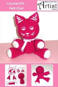 Tuto : Un petit chat tout mignon en crochet. Il peut être réalisé tranquillement en quelques soirées dans le fauteuil devant la télévision ! ***Become The Artist - Utilisez vos talents cachés pour vous détendre!***