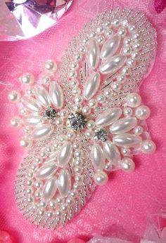 JB85 New Arrival Larger Size !! Silver Pearl Beaded Rhinestone Applique 4""