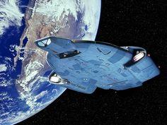 Star Trek USS Defiant Over Earth