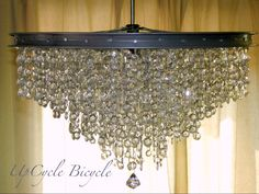A sparkling chandelier made from an upcycled bicycle rim!