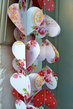 SALE Paper Garland, RED HEARTS, Heart Garland, Wedding garland, Birthday Party Garland, with Merino wool felt ball. $12.00, via Etsy.