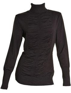 Alfani Turtleneck Sweater Medium Black Long Sleeve Knit Ruched Front Top NEW #Alfani #TurtleneckMock