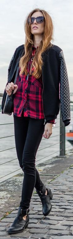 Perfect look for fall football games. I love the mixed media jacket and the booties are the perfect balance.