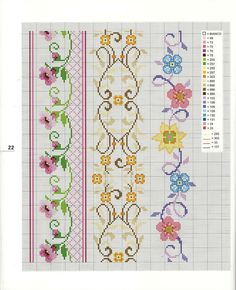 floral cross stitch borders.