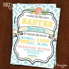 Easter Invitation Stylish Easter Brunch by BradfordRoadDesigns