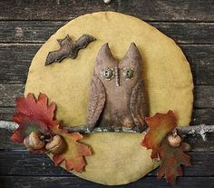Primitive Halloween Owl Fall Leaves Moon Door Hanger