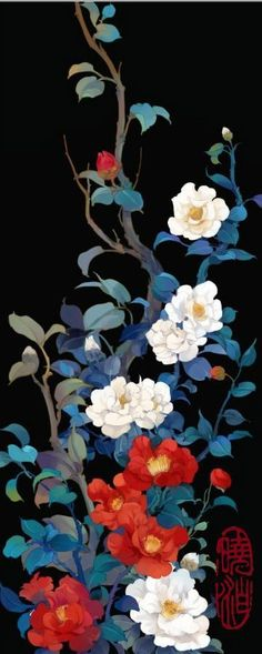 Chinese painting of camellia 王安中的《蝶恋花•山茶花》