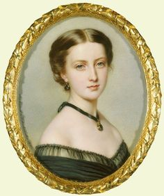 Princess Helena (1846-1923). Anton Hähnisch's miniature copy is based on Franz Xaver Winterhalter's half-length oil sketch of June 1861 showing the Princess in mourning for her grandmother, the Duchess of Kent, who had died on 16 March. She wears a black evening dress with a locket suspended from a black ribbon around her neck and jet hoop earrings.   The Royal Collection