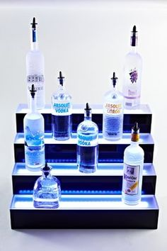 back bar lighting Ideas - eclectic - Bar Carts - Other Metro - Liquor Shelves by Armana Productions Eclectic Bar Tables, Eclectic Bar Carts, Bar Shelves, Display Shelves, Liquor Shelves, Display Ideas, Shelf Display, Display Design, Glass Shelves
