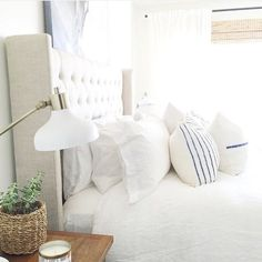 """I love the calming vibe in this beautiful white and blue bedroom from Suddenly I'm ready for bed! 😴 Her entire feed is a stunner if your looking for someone new to. Blue Bedroom, Cozy Bedroom, Bedroom Inspo, Dream Bedroom, Master Bedroom, Bedroom Decor, Bedroom Ideas, Bedroom Inspiration, Master Suite"