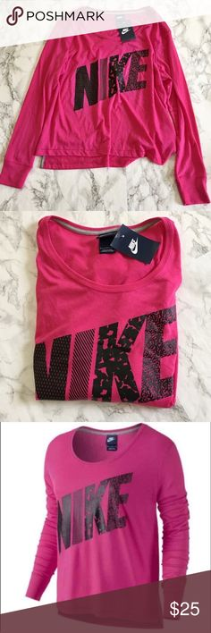 Nike Long Sleeve Top New with tags oversized fit on the body. Fits a medium better will fit a small loose. Never worn or washed! 👚 Perfect for lounging or for workouts! Nike Tops Tees - Long Sleeve