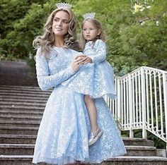"""Blue rose dresses for Mommy and me. Mother Daughter Photos, Mother Daughter Fashion, Mother Daughter Matching Outfits, Mommy And Me Outfits, Family Outfits, Mom Daughter, Kids Outfits, Daughters, Baby Dress"