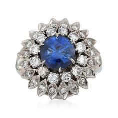 Ross-Simons - C. 1960 Vintage 2.06 Carat Sapphire and 1.15 ct. t.w. Diamond Ring in 14kt White Gold. Size 3.5 - #798330