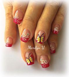 Nail Flowers, Flower Nails, Fall Nails, Spring Nails, Nail Picking, Butterfly Nail, New Nail Art, French Nails, Nail Designs