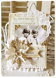 Love the doily, hymn diecut, and the pom pom trim. Great embellishments for all kinds of cards. Keep in mind for Valentines cards.