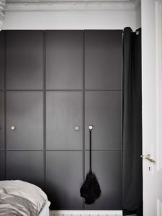 black molded doors with metal knobs for IKEA Pax
